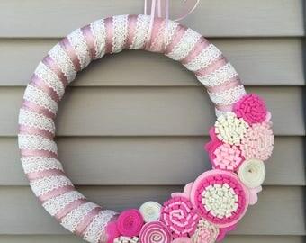 Valentines Day Wreath - Valentine Wreath - Lace Wreath - Crochet Wreath - Pink Wreath - Felt Flower Wreath - Baby Shower Wreath - Wedding