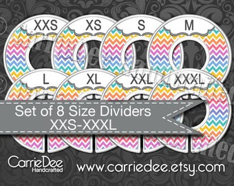 Assembled Clothing Size Dividers, LuLaRoe Size Dividers, Rainbow Chevron Design, LLR Size Cards