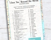 Travel Shower Game - I Love You Around the World Shower Game - Bridal Shower Game - I Love You Around the World Instant Download