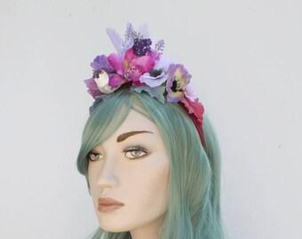 Purple Bird Flower Fairy Festival Flower Crown Headband