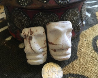 Unique Lot of 2 Vintage Marble White & Brown Clay Easter Island Style MOAI Pendants WYSIWYG  MM103