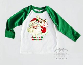 Santa Shirt - Christmas Shirt - Baseball GREEN - Santa Rudolf Retro - Girl Christmas Sibling Boy - Toddler Infant Kids - Santa Reindeer