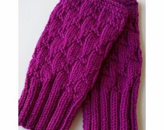 FUCHSIA Darting Diagonals Fingerless Gloves, Merino Wool Knit Mitts / Gauntlets, Berry, Pink, Purple Mitts, Mittens, Texting