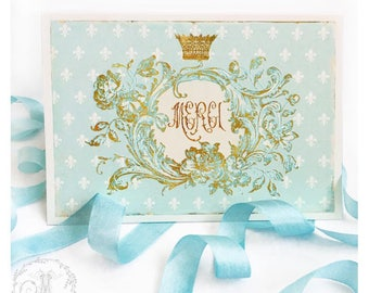Merci cards, French thank you cards, with fleur-de-lis and gold crown, set of 2 cards, blank inside