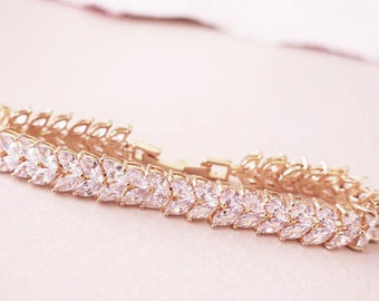 Rose Gold Bridal Bracelet Marquise Crystal Wedding Bracelet Silver Gold Tennis Bracelet Art Deco Bridal Jewelry AAA Grade