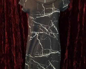 Gray Lightning Bolt Paint Splatter T-Shirt Dress Small Medium Skater Grunge Goth