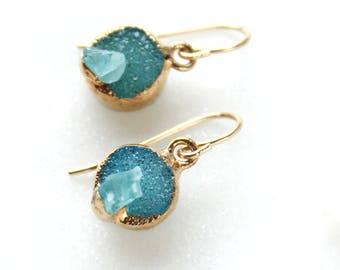 druzy earrings, apatite earrings, dangle earrings, gold earrings, crystal earrings, raw apatite, gifts for her
