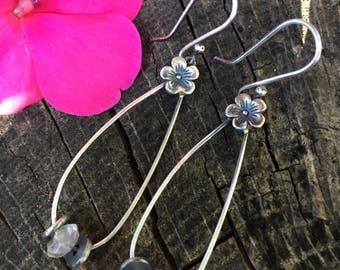 Forget Me Not Flower With Rose Quartz  Teardrop Earrings