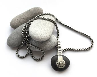 Natural Black Lake Erie Beach Stone Kinetic Sterling Silver Necklace Dots Lines Riveted Cold Connection