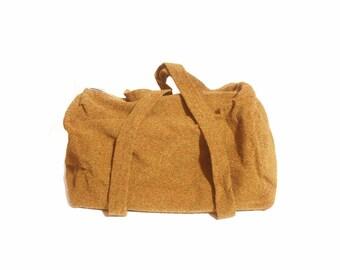 Vintage 1970s Mustard and Olive Overnight Carpet Duffel Bag