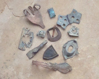 Ornate Copper Nickel & Brass Bits Verdigris Pieces Found Objects for Jewelry Assemblage Altered Art Steam Punk