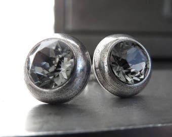 Ultra Modern Black Diamond Crystal Silver Stud Earrings - Unisex Silver Post Earrings with Grey Swarovski Crystal, Minimalist Silver Jewelry