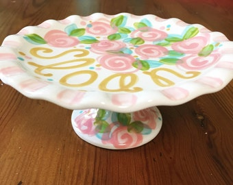 Personalized Cake Stand // Handpainted First Birthday Cupcake Stand or Smash Cake Stand