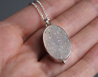 Fresh Snow, a natural Druzy and silver necklace