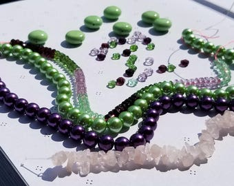 OOAK Mix Assortement of Beads Purple and Green