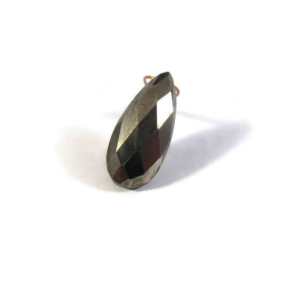 One Pyrite Briolette, Single Gold Teardrop Bead, 15mm x 7mm, Faceted Pyrite Bead, Loose Gemstones, Jewelry Supplies (B-Py1b)