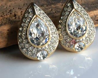 Vintage Les Bernard Earrings, Rhinestone Earrings, Clip On Earrings, Etsy, Etsy Jewelry, Vintage Earrings, Vintage Clip Ons