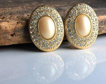 Rhinestone and Faux Pearl Earrings, Rhinestone Earrings, Vintage Earrings, Clip On Earrings, Big Earrings, 80's Earrings, Regal