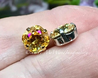 Crystal Brandy, Genuine Swarovski Crystal, 8mm Fancy Article 4470, Crystal Sew On, Golden Yellow, Pink AB, Rhinestone Crystal Setting