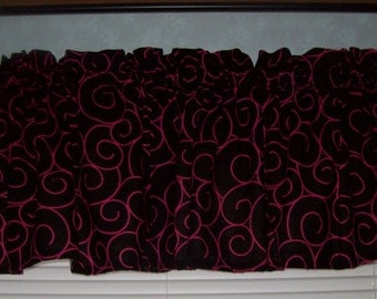 Black with Pink Swirl VALANCES, 4 panels  of 43x14ea, total 172x14 inches, FREE SHIPPING