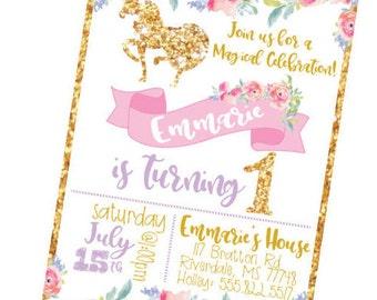 Girls Birthday Invitation, Birthday Party Invite, Unicorn Birthday Party, Animal Birthday Party, Fabulous Birthday Invite, Unicorn Decor,
