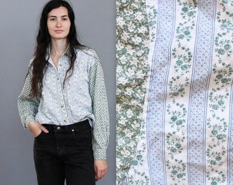 90's Pinstripe and Floral Grunge Denim Button Up Top in Medium Large . Green Blue White Patchwork Jean Blouse Collar Tuck In Western Cowgirl