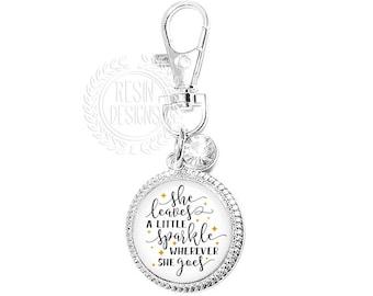 She Leaves a Little Sparkle Purse Charm, Key Ring, Key Fob, Handbag Accessory, Bridesmaid Gift, Wedding, Rhinestone, Handbag Charm, Bling