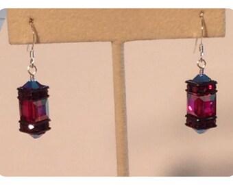 Swarovski Siam square earrings