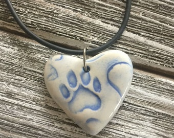 Light Blue Paw Print Porcelain Heart Pendant