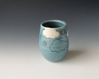 Windmill Ceramic Wine Tumbler - blue porcelain clay cocktail cup - wind turbines, clouds, nuclear snowflake decals - wheel thrown pottery