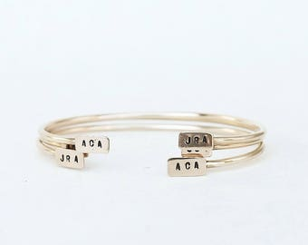 One Teeny Tiny Bar Bangle monogram initial bar gold filled brass custom stamped adjustable bracelet
