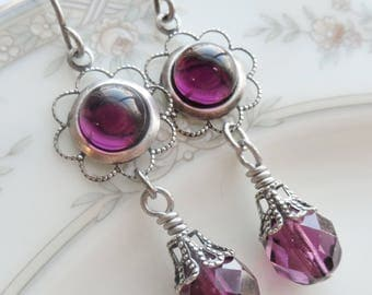75% Off Clearance Sale, Amethyst Purple , Vintage Glass Cameo, Antique Silver Finish