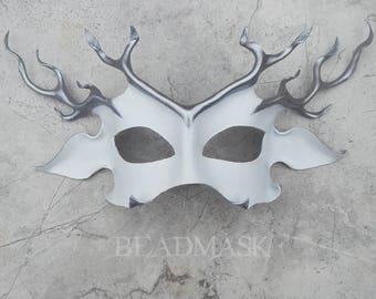 White Stag Leather Deer Mask, Horned God, Mythic Hart, Halloween Costume, Masquerade, Samhain