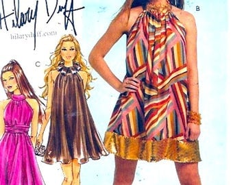 Retro Halter dress  Hilary Duff sewing pattern Wedding bridesmaid McCalls 5848 Size 4 to 10 UNCUT