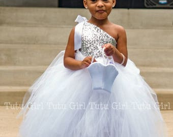 Silver Tutu Dress, Silver Sequins - Choose Tulle Skirt in White, Ivory or Off White