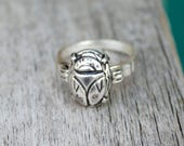 Scarab Jewelry - Art Deco Egyptian Revival Scarab Beetle Ring - Sterling Silver