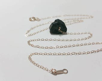 Raw Rough Black Tourmaline Gold FilledNecklace - Healing Stone Necklace, Black Stone Pendant