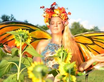 Orange Pink Monarch Floral Flower Crown Butterfly Headdress