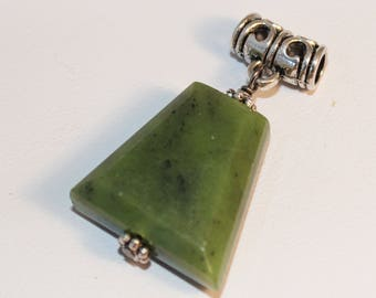 Green Jade Necklace Pendant Silver Bail Trapezoid Shimmer Shimmer Stocking Stuffer