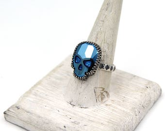 Blue Chrome Large Skull Ring // Swarovski and Sterling Silver ring, by BellaLili, Welded Silversmith