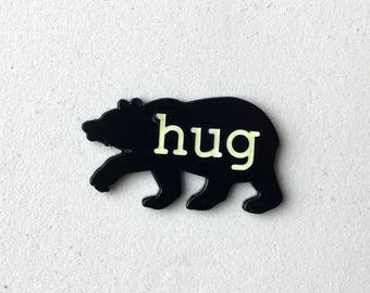 Bear Hug Enamel Pin Badge Brooch Glow in the Dark