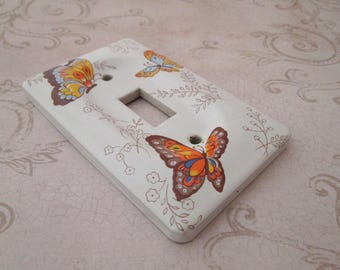 Switch Plate, Vintage Ceramic Switchplate, Decorative Light Switch Cover, single switch plate, butterfly decor, white, nursery decor
