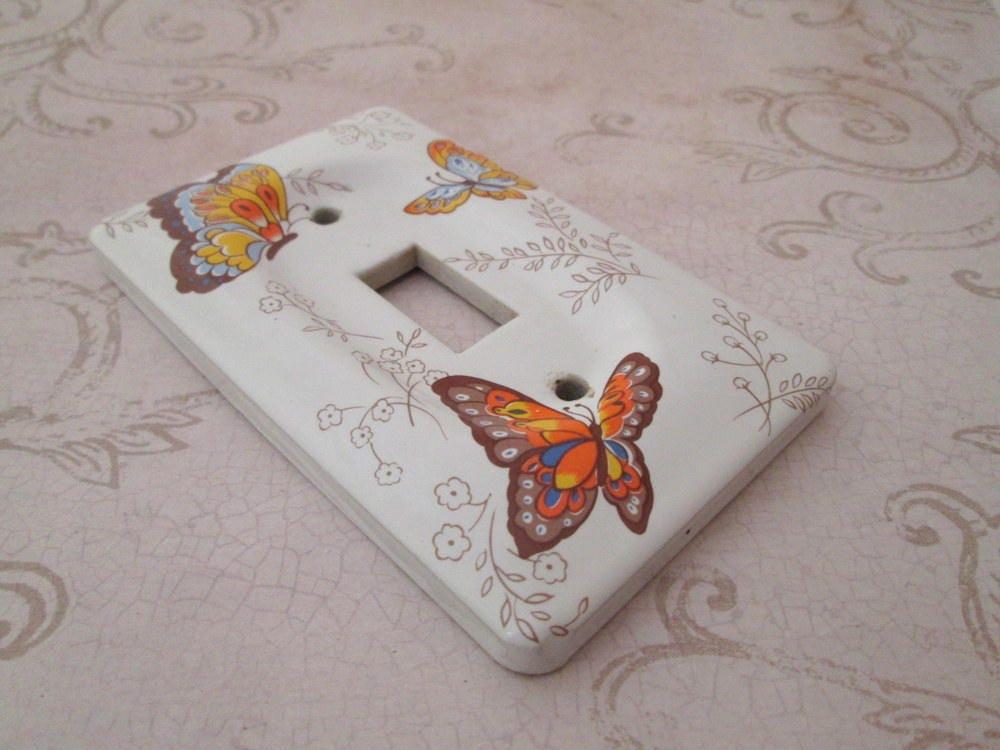 switch plate vintage ceramic switchplate decorative light. Black Bedroom Furniture Sets. Home Design Ideas