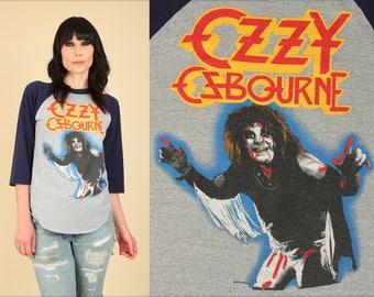 ViNtAgE 80's OZZY Osbourne T-Shirt Shirt // 1981 Diary of A MadMan Tour Shirt// Raglan Jersey Concert Tee Small S