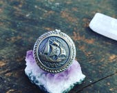 Northern Sea Ship Vintage Button Ring Sterling Silver