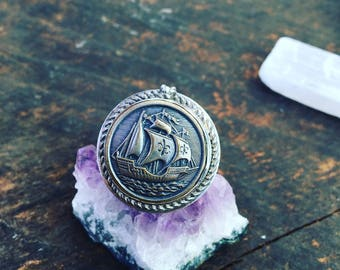 North Sea Ship Vintage Button Ring Sterling Silver