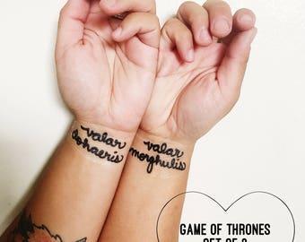 Set of 2- Game of Thrones Temporary Tattoo Quotes- Valar Morghulis- Valar Dohaeris- READY TO SHIP