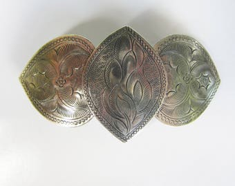 Vintage Mexico Alpaca Silver Stamped Hair Barrette   1619