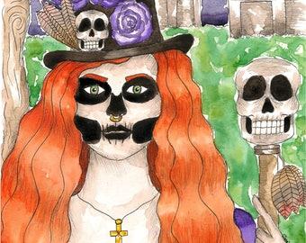 Voodoo Art Maman Brigitte Original Watercolor Painting Hoodoo Fantasy Dark Goddess Art Pagan Occult Spiritual Magick Witch Santeria Vodou