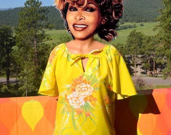 vintage 70s blouse HAWAIIAN hilo hattie aloha keyhole shirt floral flowers women's Medium Large